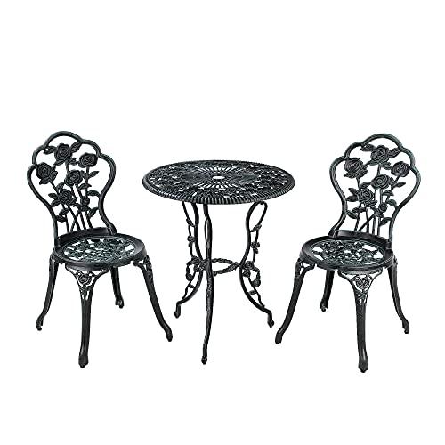 Garden Furniture Set 3 Pieces Outdoor Table Set Aluminium Patio Garden Furniture Bistro Set with 1 Coffee Table and 2 Chairs for Balcony, Garden, Restaurant Bronze Green