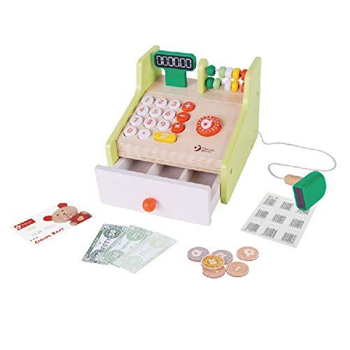 Classic World - Registratore di cassa in legno per bambini fingere di giocare supermercato negozio fino al gioco di ruolo educativo