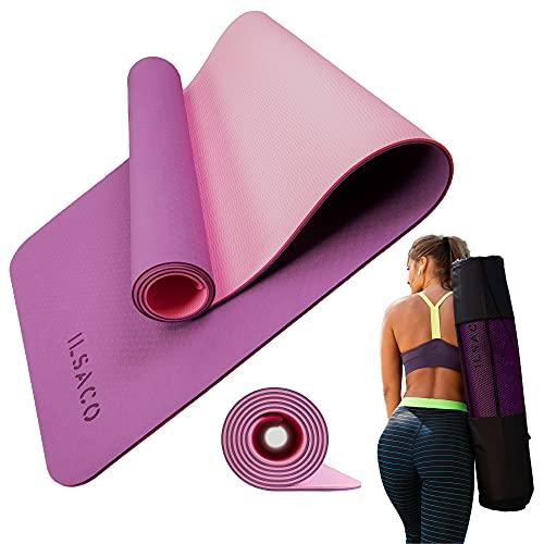 ILSACO® Premium doppelseitige Gymnastikmatte inklusive Tragetasche / Yogamatte / Fitnessmatte / Sportmatte 🙼 entspricht deutschem Qualitätsstandard