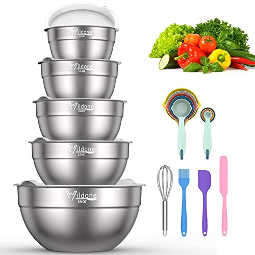 Mixing Bowls with Airtight Lids - Wildone 19 Piece Stainless Steel Nesting Bowls Set, BPA Free & Extra Deep, Size 5, 2.5, 2, 1.5, 1 QT, Great for Mixing & Serving
