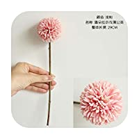 Art Flower 結婚披露宴や家の装飾のための1個造花ブーケタンポポシングルヘッドソーンボールシミュレーション装飾-Pink