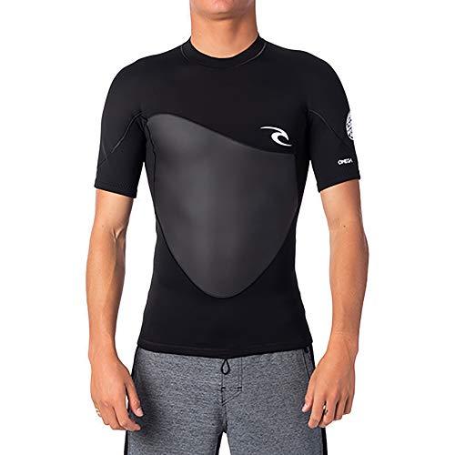 Rip Curl Omega Veste pour homme, 1,5 mm, haut en néoprène pour homme, veste de surf, veste de surf, veste de surf, fermeture Éclair, à manches longues, Spring 20, noir, S
