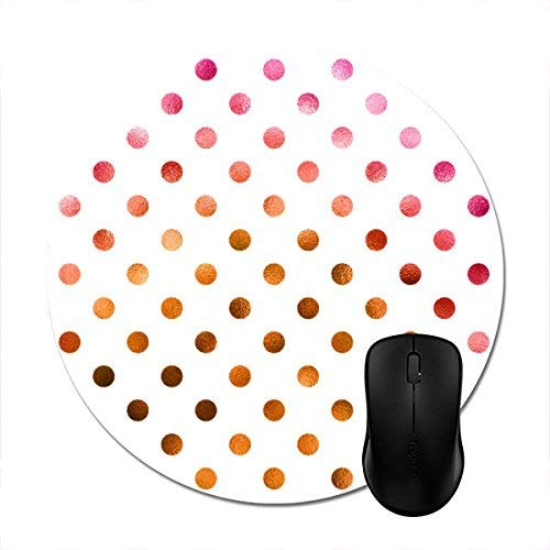 Round Mousepads Pink Gold Holographic Metallic Faux Foil Polka Dot Mouse Mat