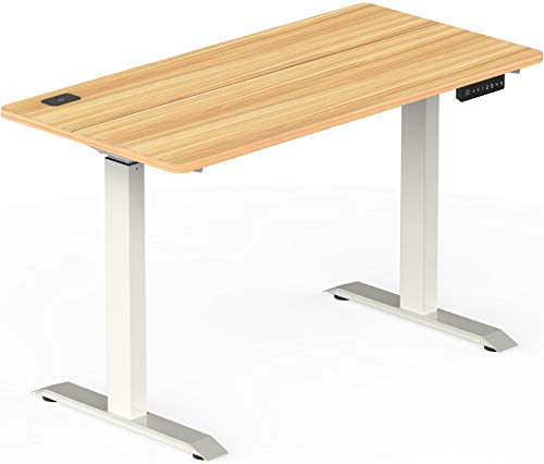 stand tables SHW Electric Height Adjustable Standing Desk, 48 x 24 Inches, Light Cherry