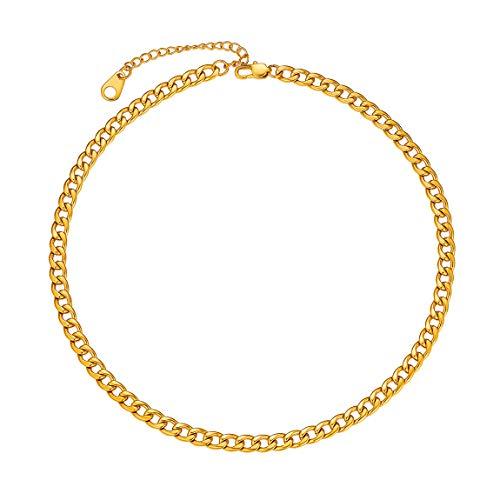 5MM Gold Cuban Chain 14 inch Short Choker Fashion Necklace for Men Women Golden Chains for Boy Gift