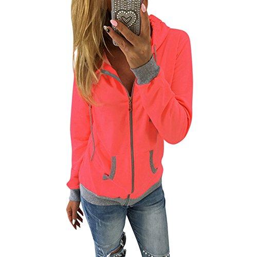 Petalum Jacke Damen Sweatjacke Hoodie Sweatshirt Frühling Herbst Langarm Kapuzenpullover Slim Fit Oberteile Taschen Reißverschluss