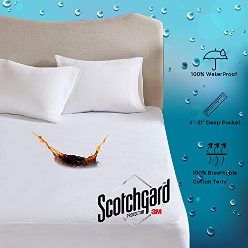 MP2 Waterproof Mattress Protector Cover Queen 100% Cotton Terry Stain Release 3M Scotchgard Fitted 4' - 21' Deep Pocket