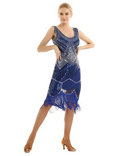 iEFiEL Damen Kleid Retro 1920er Flapper Quaste Kleid Cocktailkleider V-Ausschnitt Pailletten Kleider Franse Motto Party Abendkleider Blau XXL