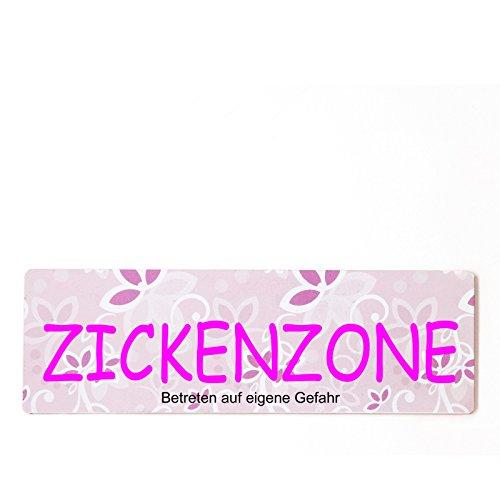 Deko Shabby Chic Schild Zickenzone Vintage Holz Türschild in rosa zum Kleben