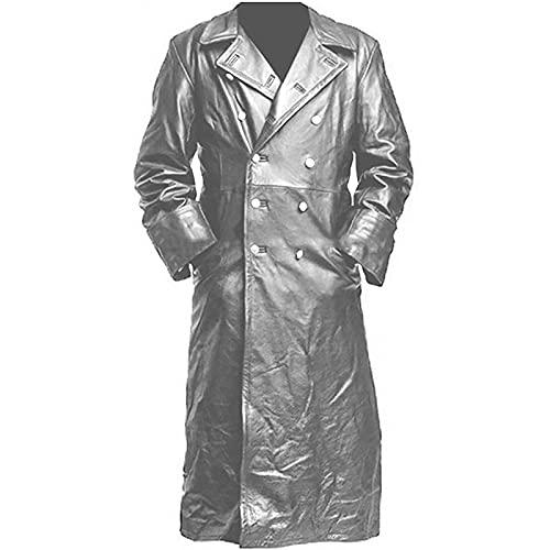 Hombres Gabardinas De Cuero Largo Collar para Hombre Chaqueta Larga Abrigo De Cuero Vintage,Plata,5XL