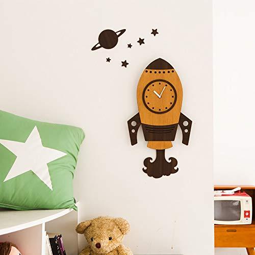 Bradoner Reloj de pared europeo para sala de estar, silencio grande, decoración de cohetes, reloj de pared para el hogar, dormitorio, reloj de pared creativo (color: marrón)