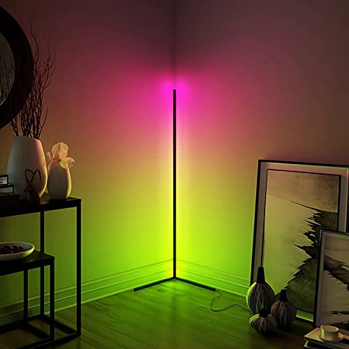 Floor Lamp Colour Changing 158cm Tall Minimalist Nordic LED RGB Corner Lamps with Dimmable Remote Controller,for Gaming Room, Living Room Bedroom (Black)