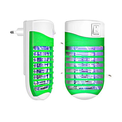 FISHOAKY Lampe Anti Moustique Electrique UV Tue Mouche, 4W 2 Paquets Bug Zapper Tueur De Moustique avec Night Light- Ultraviolet & Electric Shock Deworming Physiquement Prises EU