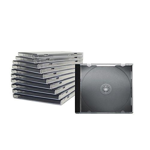 CD Jewelcase/CD Hüllen/CD Leer Hüllen für 1 CD/DVD, transparent, Tray schwarz (10mm) 100 Stück im Karton