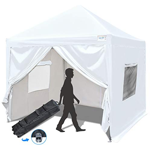 Quictent Privacy 8x8 EZ Pop Up Canopy Tent Party Tent with Detachable Sidewalls and Mesh Windows 100% Waterproof-7 Colors (White)