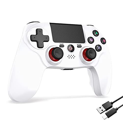 PS4コントローラー 600mAh FPS改良 Bluetooth5.0 HD振動 ゲームパット搭載 高耐久ボタン イヤホンジャック スピーカー PS4 コントローラー (Mimall ホワイト)