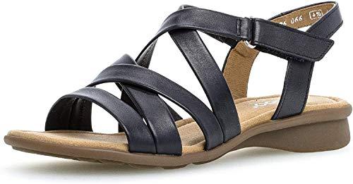 Gabor Damen Sandalen, Frauen Riemchensandalen,Comfort-Mehrweite, Sandalette sommerschuh Sommersandale bequem flach Damen Frauen,Ocean,42 EU / 8 UK