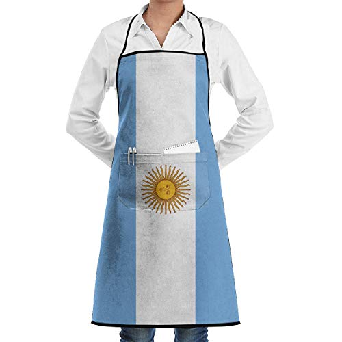 N\A Delantales Barbacoa con Bolsillo Práctico, Delantal con Peto Bandera Argentina para Camarera y Camarero