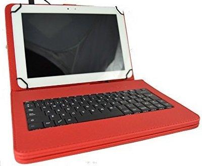 theoutlettablet Funda con Teclado extraíble en español (Incluye Letra Ñ) para Tablet LG Gpad V700 10.1' - Color Rojo