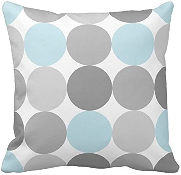 Lionkin8 Gray And Light Blue Turquoise Round Circle Pattern Throw Pillowcase Polyester Decorative Pillowcase 18 X 18 Inch Throw Pillowcase Cushion Cover