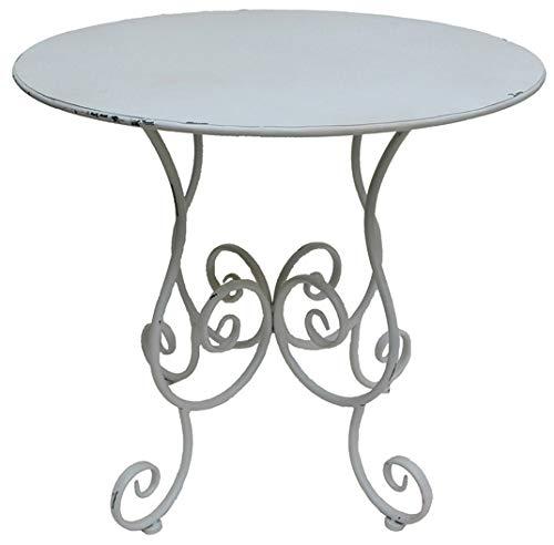 Nene-Home PASTORI Tisch aus antikweiß lackiertem Schmiedeeisen