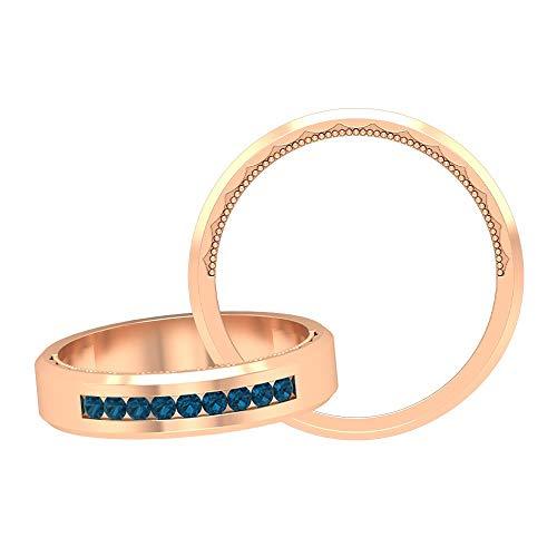 Banda redonda de topacio azul Londres 1/3 ct, anillo de boda, oro milgraind anillo (1,7 mm, forma redonda, topacio azul de Londres), 14K Oro rosa, Size:EU 70