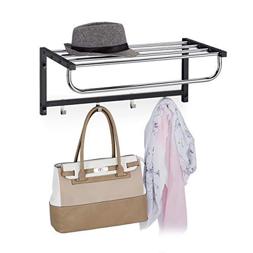 Relaxdays Wandgarderobe mit Ablage, Garderobenleiste 4 Haken, Flur & Bad, modern, Metall, HBT 25 x 60 x 32,5 cm, schwarz