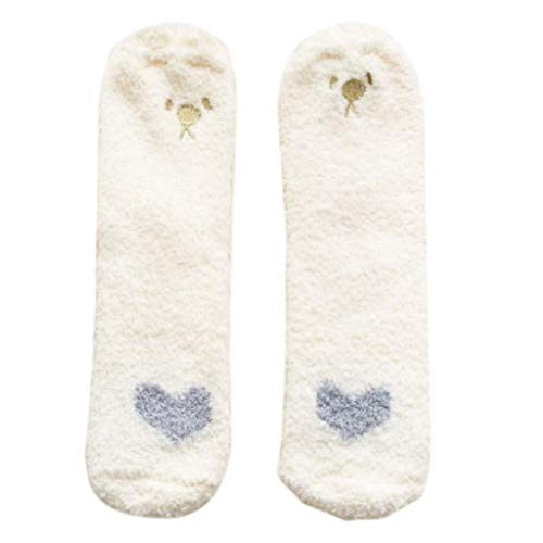 Calcetines de felpa de invierno para mujer, calcetines de felpa para el suelo de la tripulación de dibujos animados, patas de gato, orejas de animales, medias de invierno