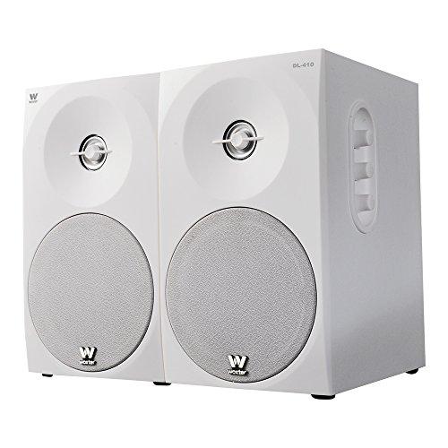 Woxter Dynamic Line 410 – Altavoces estéreo 2.0 Autoamplificados con 150W de potencia, Madera, Woofer de 4 pulgadas, 2 Tweeter, 3.5 mm, RCA, Control volumen, agudos, graves, Bookself Speakers, Blanco