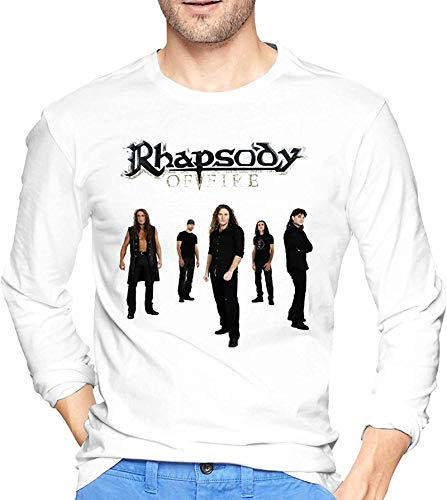 Big Boys White manga larga Rhapsody of Fire Shirts para hombres Graphic cuello redondo Tee Tops Custom Tees Shirts