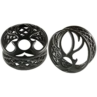 30mm gauge Black Alloy Double Flared Flare Ear Plugs Flesh Tunnel Earlets AICS Expanders Stretchers Body Piercing Jewellery Pair