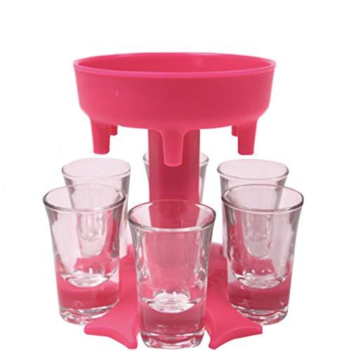 FeiliandaJJ Schnapsverteiler mit 6 Tassen - Schnapsschirm für 6 Personen - Party Trinkspiel Zubehör -Ausgießer Trichter - Schnaps Verteiler für Likör, Scotch, Bourbon, Wodka, Cocktail (Rosa)