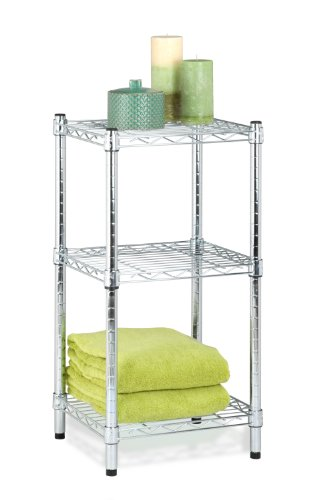 Honey-Can-Do 3-Tier Steel Wire Shelving Tower, Chrome, 14 by 15 by 30-Inch