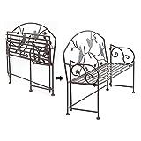 Decoración antigua del banco del jardín del patio al aire libre del hierro forjado,Bancos de terraza plegables portátiles,Hermoso sofá de metal con forma de pájaro, vintage en mal estado hecho a man