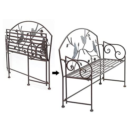 Decorazione antica di panca da giardino per patio esterno in ferro battuto,Panche pieghevoli portatili da terrazza,Bellissimo divano poltrona in metallo a forma di uccello, vintage shabby fatto a ma