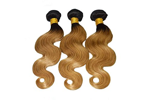 YanT HAIR 6A Grade Ombre Hair Brazilian Virgin Hair Body Wave Human Hair Weave 3 Bundles 22 24 26 Inches #T1b/27 Color Pack of 3