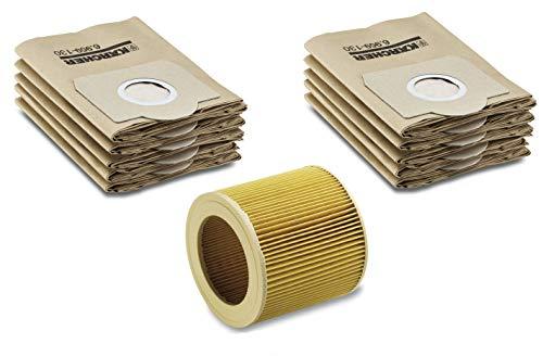 Preisvergleich Produktbild Filter-Set für Kärcher Nass- / Trockensauger mir original Kärcher Patronenfilter (6.414-552.0) inkl. Verschlussschraube & Kärcher Papierfilterbeutel (6.959-130.0)