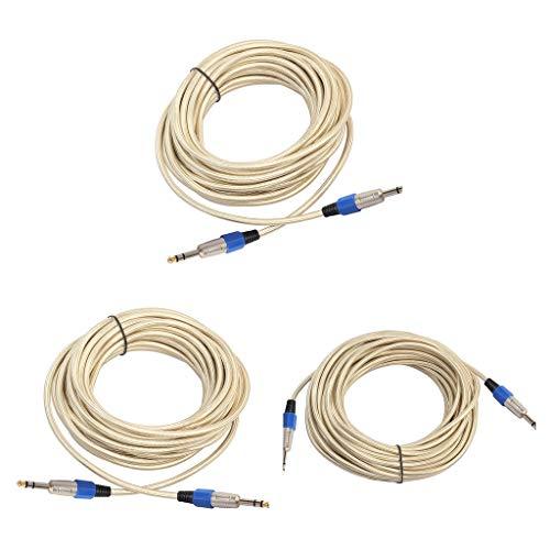 Shiwaki 3X 6.35 Mm Macho a Macho Audio Esté Cable Auxiliar 1000/1500/2000 Cm de Longitud Se Conecta con El Teléfono Inteligente, Reproductor de MP3 Fácil D