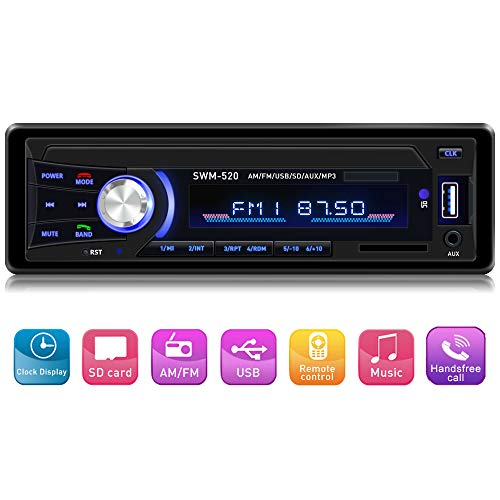Car Stereo Car Stereo with Bluetooth Single din in Dash stereos for car, AM FM Car Radio Car Audio Support USB, SD Card ,AUX in, with Wireless Remote Control