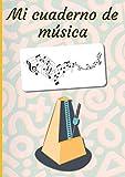Mi cuaderno de música: Cuaderno de música   Libro de partituras   Cuaderno de teoría musical   A4 grande - 100 páginas   Portada del tema del metrónomo