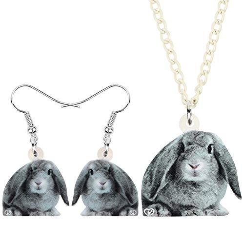 FUKAI Conjunto de joyería de conejo gris de Pascua de acrílico con diseño de liebre para mascotas, collar para mujeres y niños, joyería de regalo de moda (color: gris)