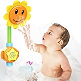 Sunflower Shape Baby Bath Shower Toys for Toddlers - Battery Operated Water Squirt Shower Bathtub Bathroom Pool Bath Time Toys for Kids -Flower Shape Bathtub Water Spray Spout Toy with Suction Cup