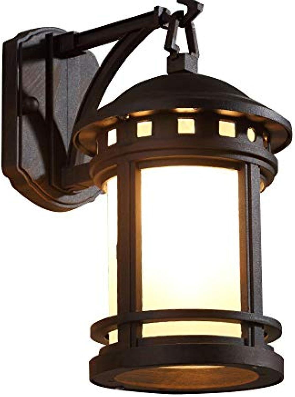 YUI Wandlampe Wandleuchte Auen Retro Vintage Wasserfest Zylinder Form Drauen Laterne Design IP23 Landhausstil E27 Aluminium und Glas Schatten Wandbeleuchtung,24  31CM