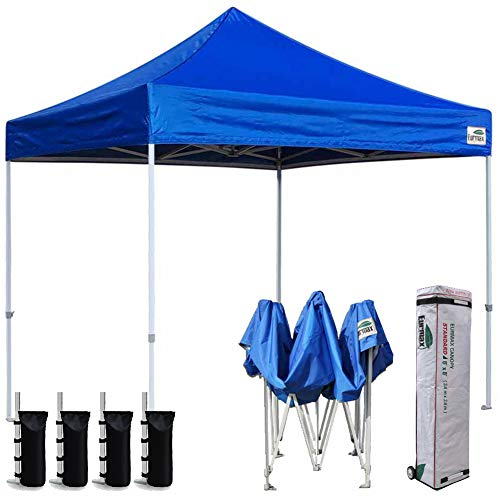 Eurmax 8x8 Feet Ez Pop up Canopy, Outdoor Canopies Instant Party Tent, Sport Gazebo with Roller Bag,Bonus 4 Canopy Sand Bags (Blue)