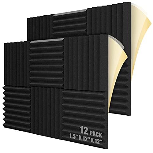 LEIYER 12 Pack Self-adhesive Sound Proof Foam Panels, 1.5' X 12' X 12', Acoustic Foam Panels with High Density,Soundproof Foam Panels for Decreasing Noise and Echoes, Studio Foam for Indoor (Black)