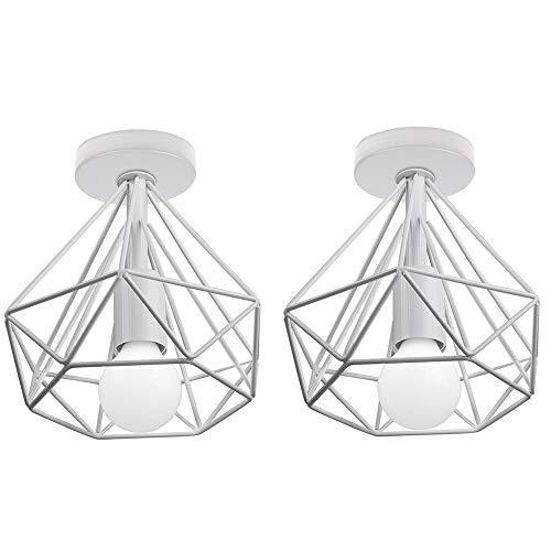 2 Pcs Lámpara de Techo Industrial Vintage ⌀200mm Simple Plafón Diamante luz...