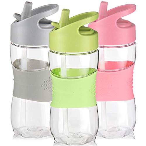 Kids Water Bottle with Straw and Handle 0.35L by Sivphe Leakproof Little School Drinking Bottle for Indoor and Outdoor