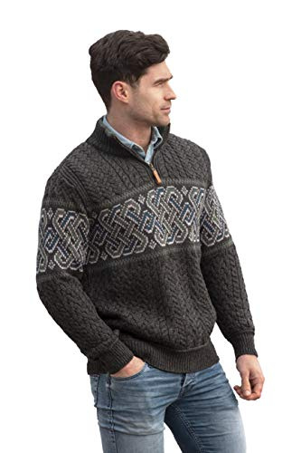 Aran Crafts Men's Irish Cable Knit Half Zip Jacquard Sweater (X4843-XL-CHAR) Charcoal