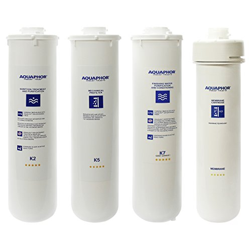 Replacement Water Filters Cartridges for Aquaphor RO-101 Reverse Osmosis System with Remineralizer (Full Set of 4 (K2 K5 K7 RO) - 18-24 Month)