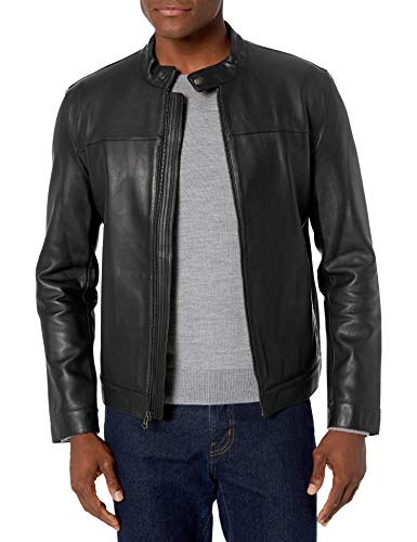 Cole Haan Men's Bonded Leather Moto Jacket, Black, Large